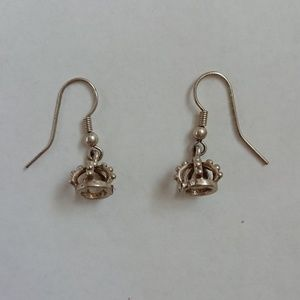 Crown with crystal silver earrings